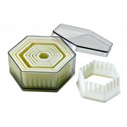 Boite de 9 découpoirs hexagonaux cannelés