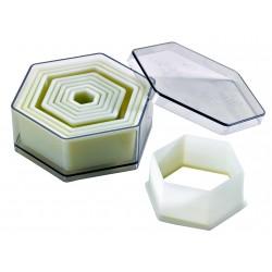 Boite de 9 découpoirs héxagonaux