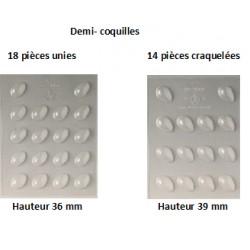 Plaque chocolat 18 demi-coquilles unies