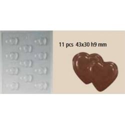 Moule chocolat 11 double coeur
