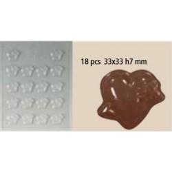 Moule chocolat coeur cupidon 18 pcs
