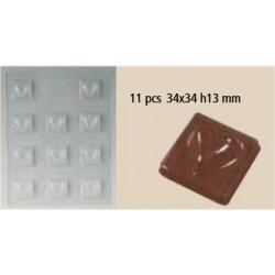 Moule chocolat coeur sur carré 11 pcs