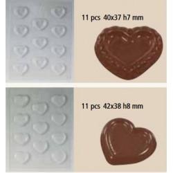 Moule chocolat coeur plat