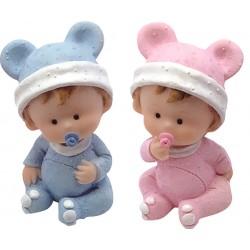 Figurine naissance bébé sur cubes - 9 cm